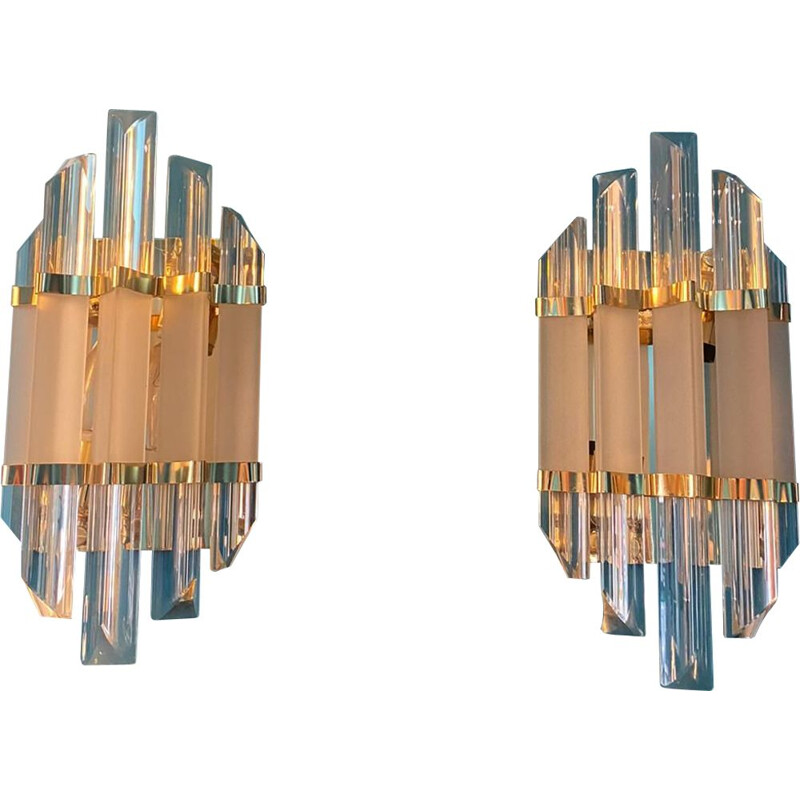 Pair of vintage sconces in glass and brass by Paolo Venini