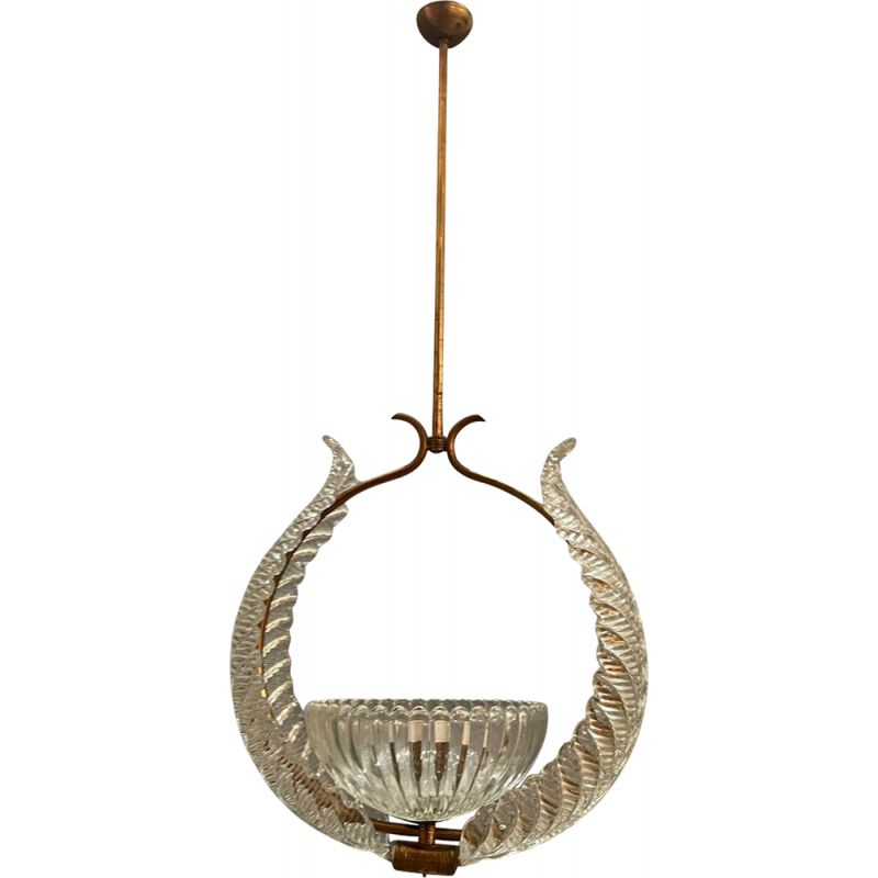 Murano glass vintage pendant lamp by Ercole Barovier