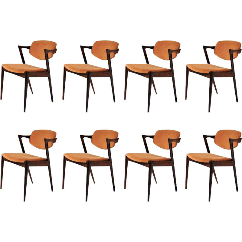 Set of 8 rosewood vintage dining chairs by Kai Kristiansen for Schous Møbelfabrik, 1960s