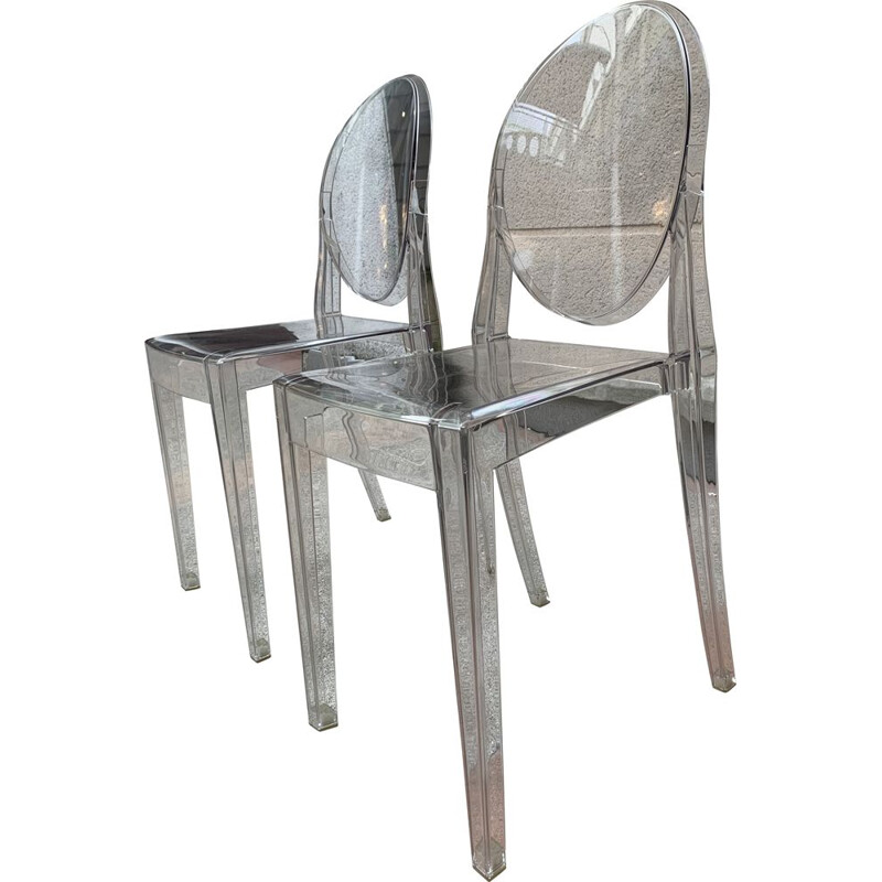 Pair of vintage Victoria Ghost chairs by Philippe Stark for Kartell, 2005s