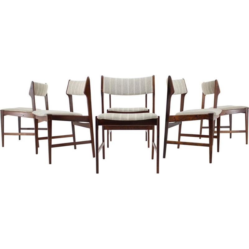 Set of 6 solid rosewood vintage dining chairs by Erich Buch, Denmark 1960s