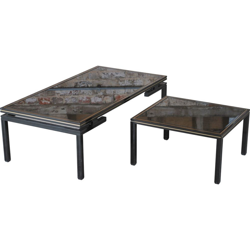 Vintage aluminium and black stained glass nesting table by Pierre Vandel, France 1970s