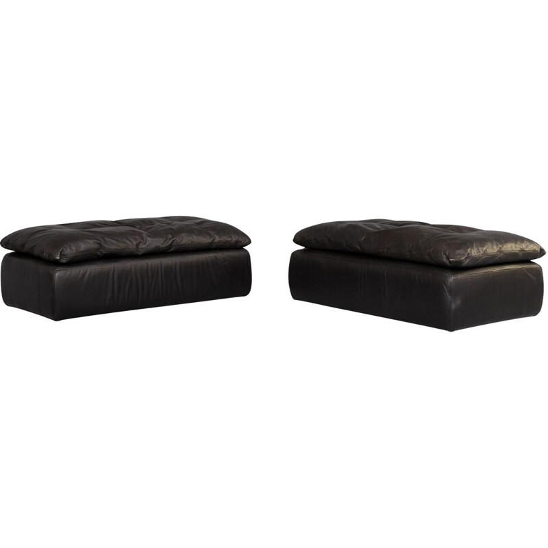 Pair of vintage black leather pouf sofa by Walter Knoll, 1980s