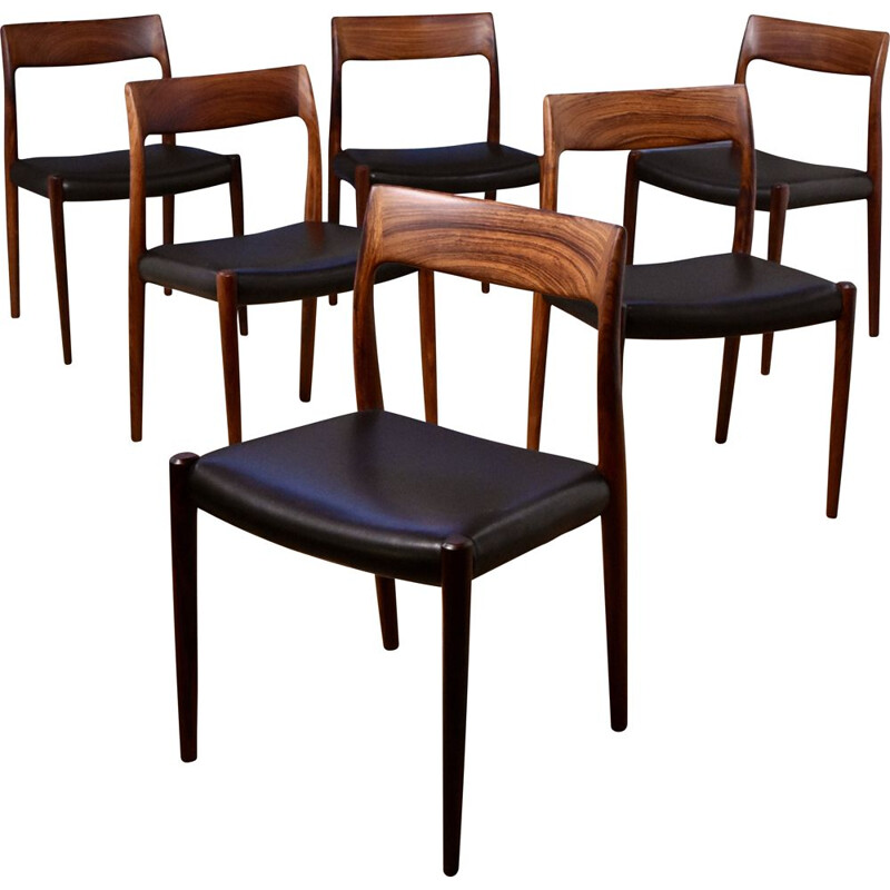 Set of 6 vintage model 77 solid rosewood chairs by Niels Moller for J.L Mollers Mobelfabrik, 1959s