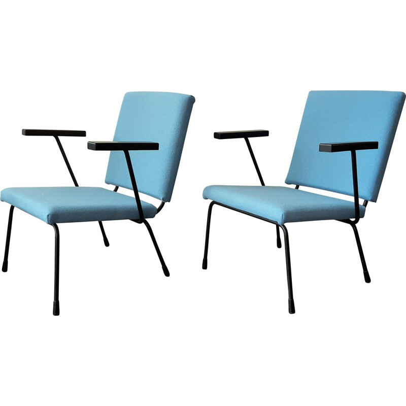 Pair of vintage lounge chairs model 415 by Wim Rietveld for Gispen, Dutch 1950