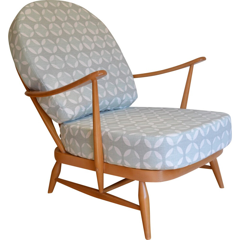Ercol 203 armchair in grey and white fabric, Lucian ERCOLANI - 1960s