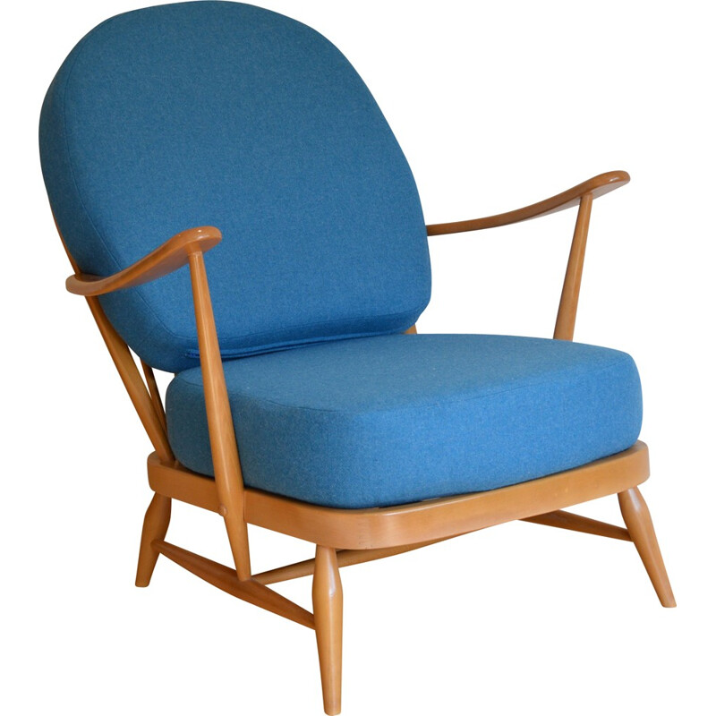 Ercol blond 203 armchair with blue wool cushions, Lucian ERCOLANI - 1960s