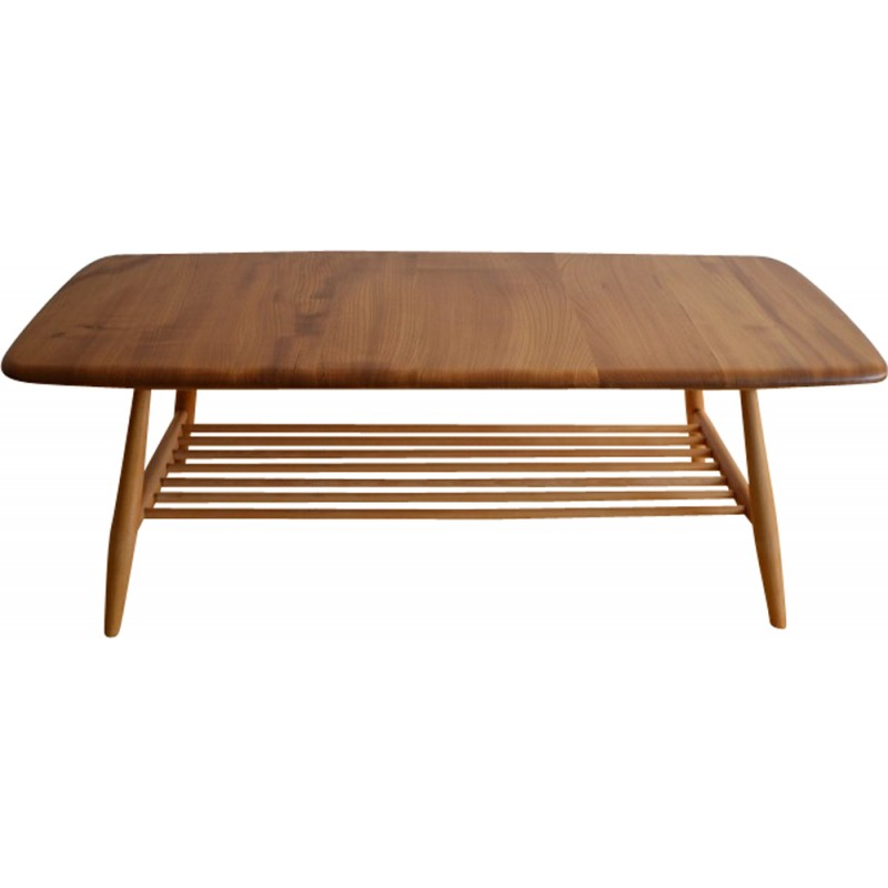 "Ercol ""398"" Coffee Table In Elm With Magazine Rack"