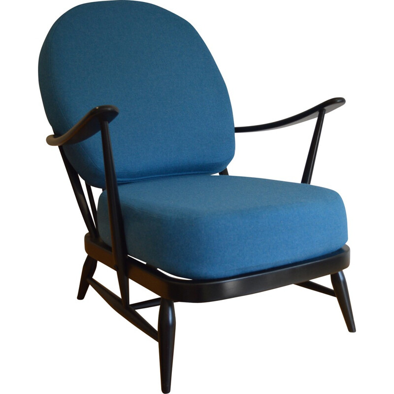 Ercol black 203 armchair with blue wool cushions, Lucian ERCOLANI - 1960s