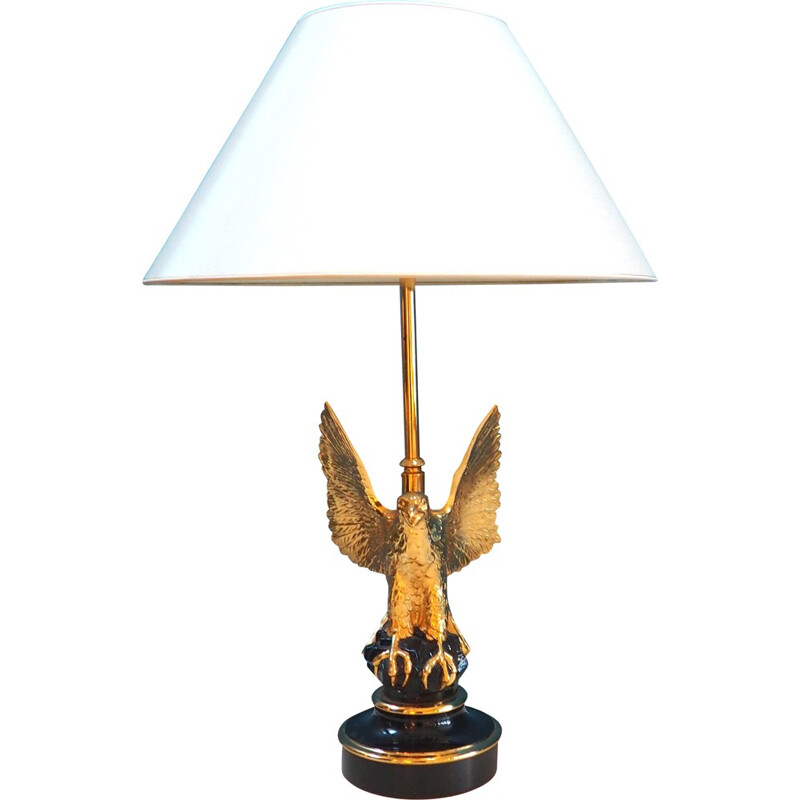 Gold-Plated Eagle table lamp, Jacques CHARLES - 1960s