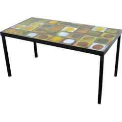 Coffee table in ceramic and metal, Roger CAPRON - 1950s