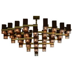 Large chandelier in aluminum and brass, Gaetano SCIOLARI - 1970s