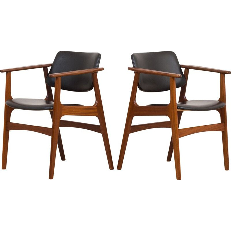 Pair of vintage teak armchairs with black aniline leather by Arne Vodder, Denmark 1960s