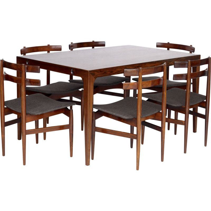 Set of vintage Danish rosewood tables and 6 chairs by Poul Hundevad, 1960s