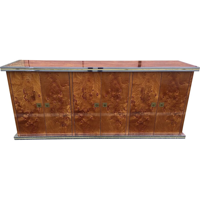 Vintage burr elm sideboard by Willy Rizzo, 1970s
