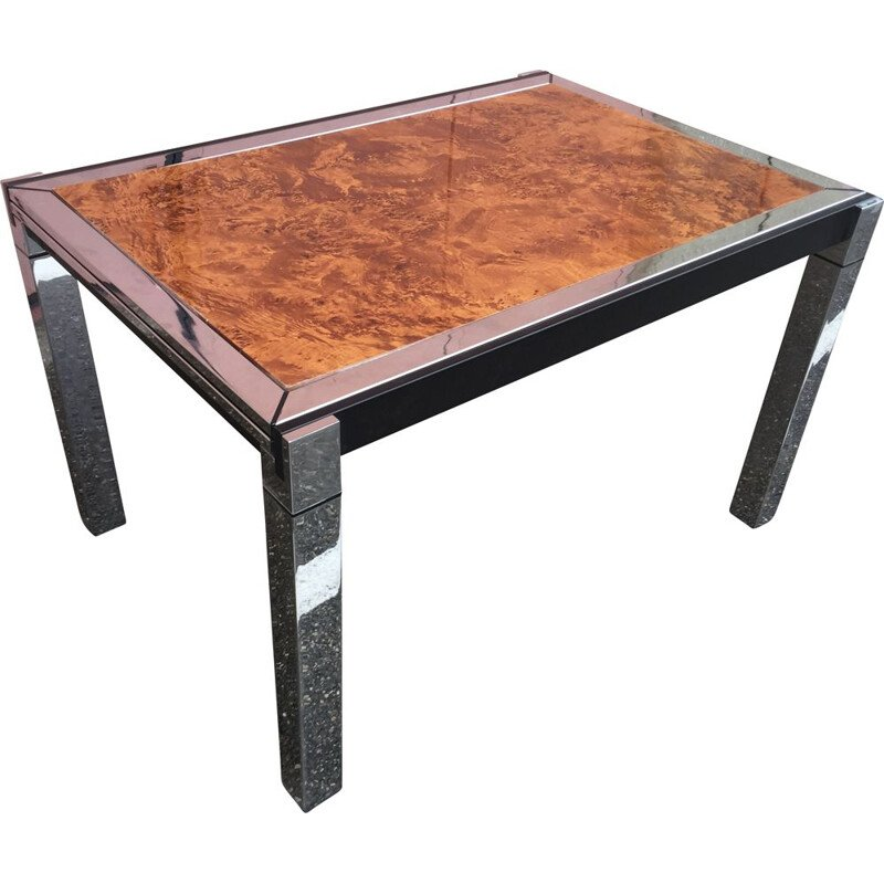 Vintage table in chrome and black lacquered steel by Willy Rizzo