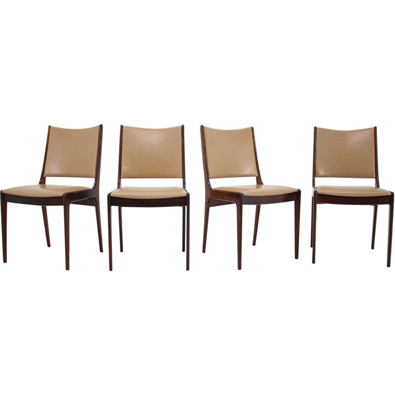 Set of 4 vintage teak and leatherette chairs by Johannes Andersen, 1960