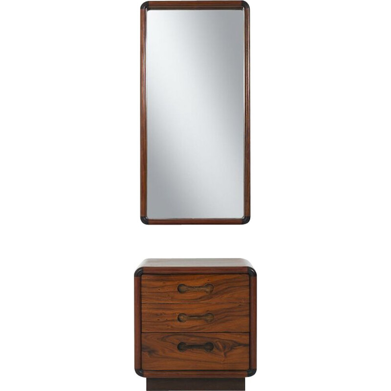 Vintage walnut chest of drawers and mirror by Poul Cadovius for CADO, Denmark 1970s