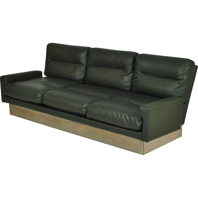Sofa in steel and green leather, Jacques CHARPENTIER  - 1970s