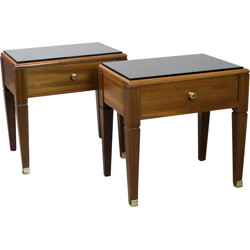 Pair of night stands in mahogany and brass - 1940s