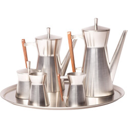 Dutch Metawa tea and coffee set in pewter and teak - 1960s