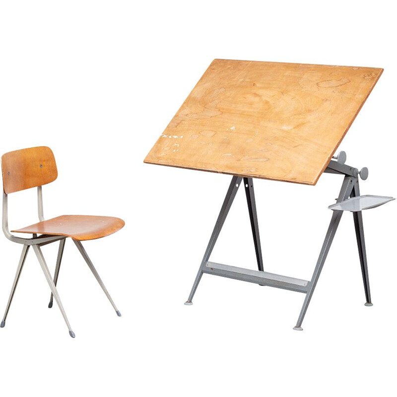 Set of vintage desk model Reply and chair by Wim Rietveld and Friso Kramer Result, 1960s