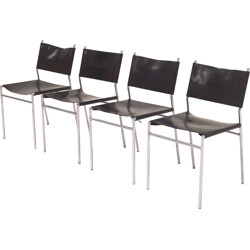 "Set of 4 'T Spectrum leather ""SE06"" dining chairs, Martin VISSER - 1960s"
