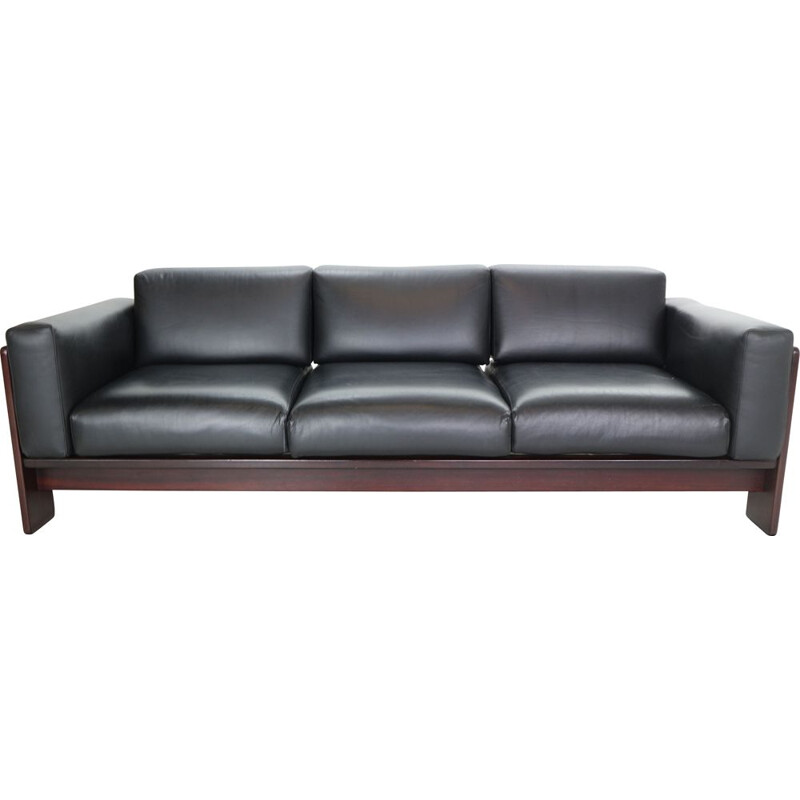 Vintage black leather sofa by Knool for Tobia Scarpa, 1960s