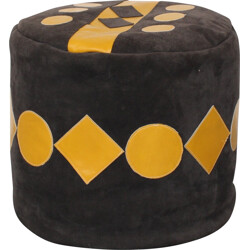 Mid-century foot rest in grey suede with yellow patterns - 1960s