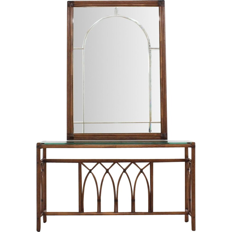 Vintage console in rattan with mirror by Telemaco for Gasparucci Italo, Italian 1970s