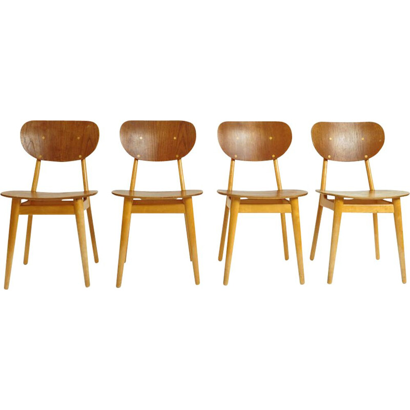 Set of 4 vintage wooden chairs by Cees Braakman for Pastoe, 1950