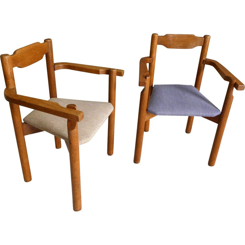 Pair of vintage bridge chairs by Guillerme and Chambron for Votre Maison