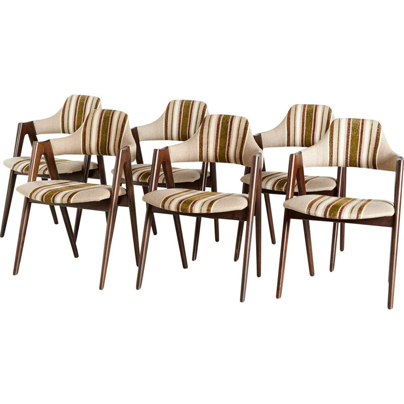 Set of 6 vintage compass dining chairs by Kai Kristiansen for SVA MØBLER, Denmark 1960s