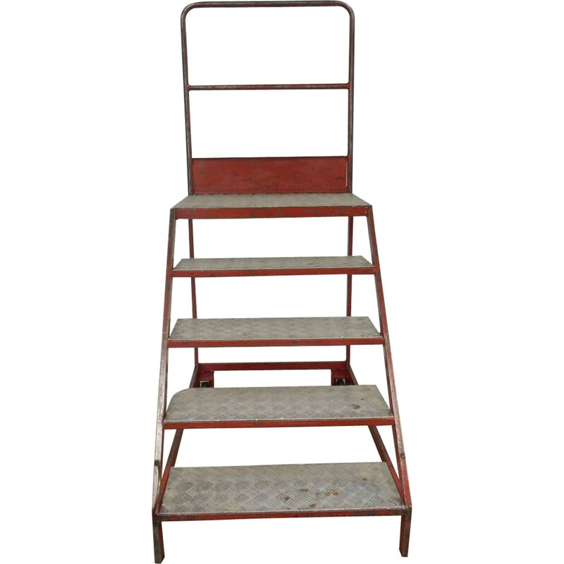 Industrial iron ladder 4 with 2 wheels