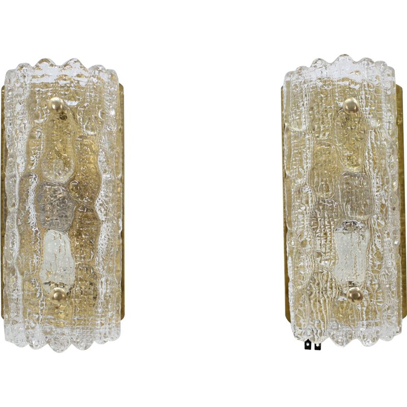 Pair of vintage glass sconces by Carl Fagerlund for Orrefors, 1960