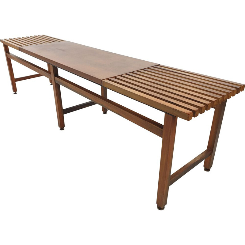 Mid century bench in walnut and teak with brass feet, Italy 1950s