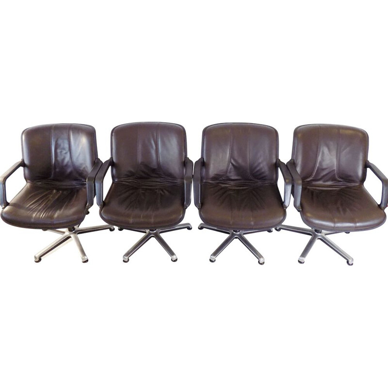 Set of 4 vintage Fröscher leather office chairs by Burkhard Vogtherr, 1970s