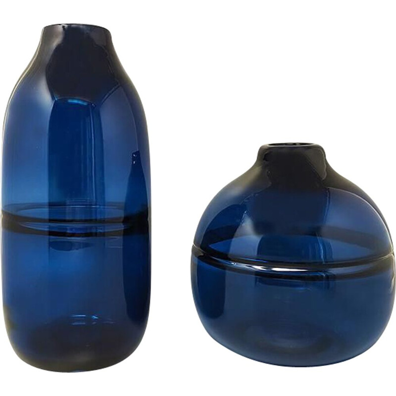 Pair of vintage blue vases in Murano glass by Seguso, Italy 1960s