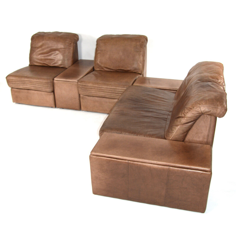 Brown leather lounge set - 1970s