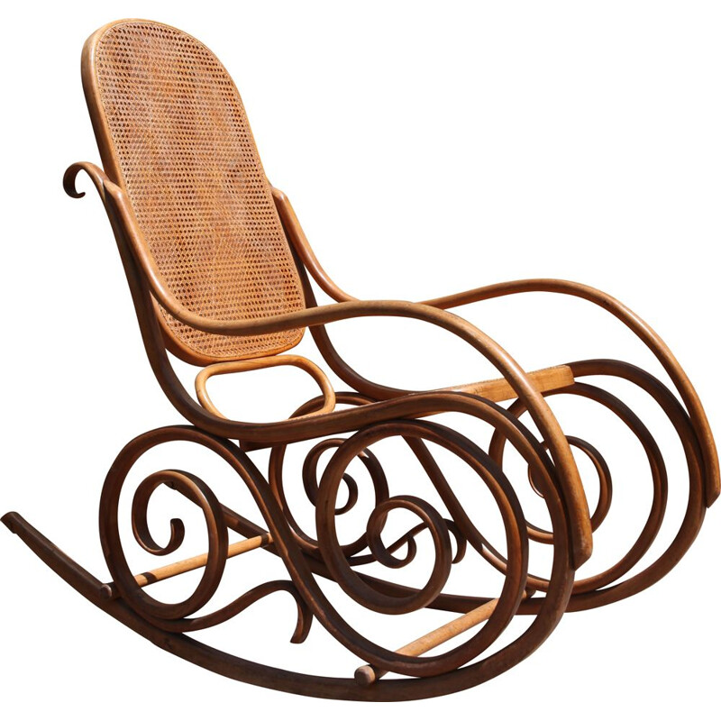 Rocking chair in bentwood and cane by JF Kohn