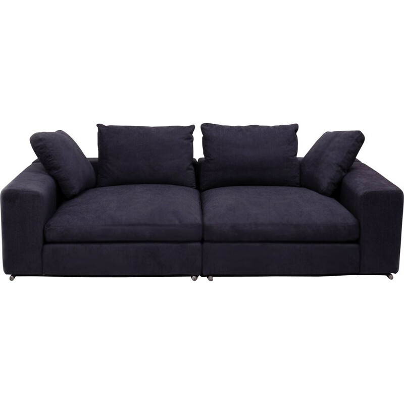 Flexform vintage slate grey fabric sofa with two separate units