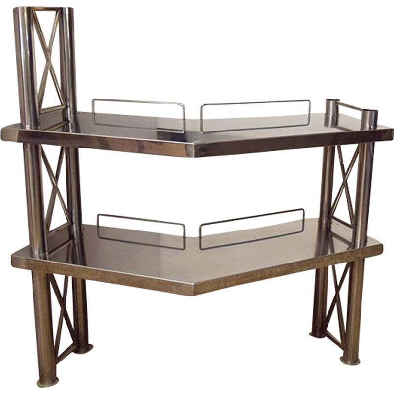 Corner console in steel with two shelves, Italia 1970s