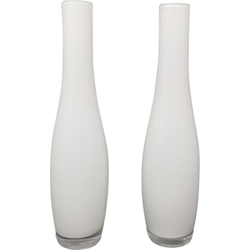Pair of vintage vases in Murano glass by Dogi, Italy 1970s