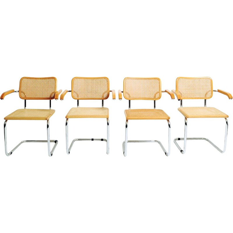 Set of 4 vintage chairs with arms by Marcel Breuer, Italy 1970