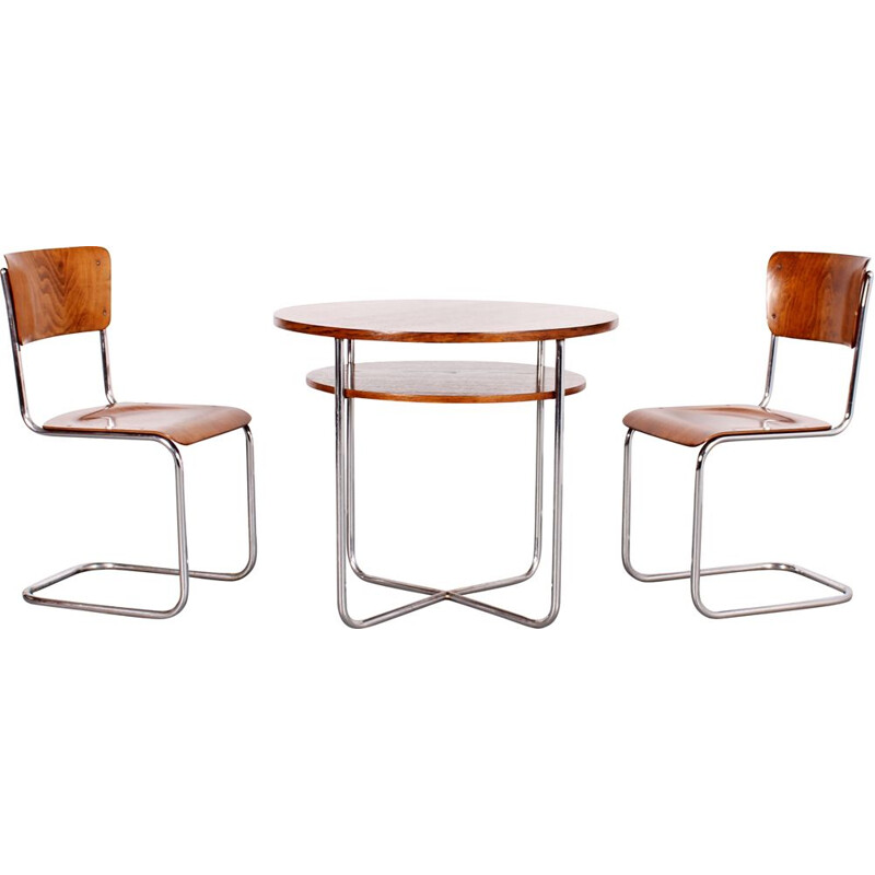 Set of vintage tubular table and 2 chairs, 1930s