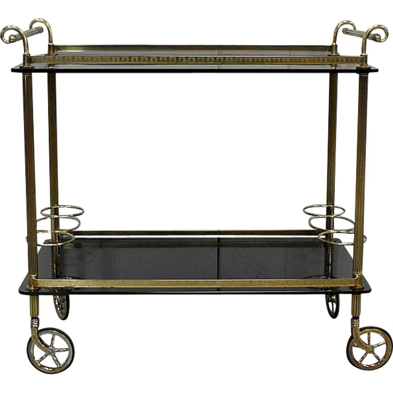Vintage brass and smoked glass trolley, 1970s