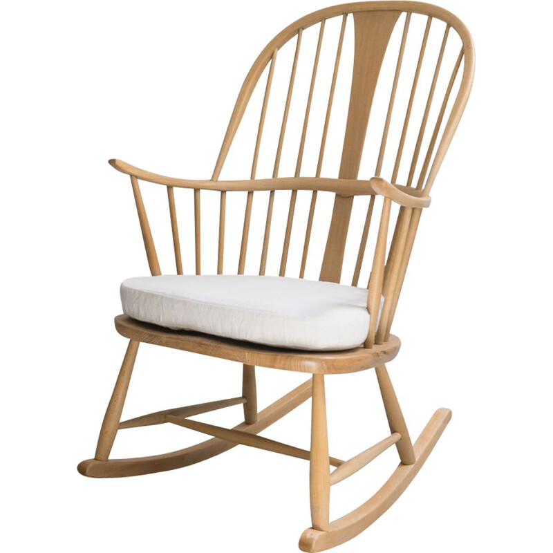 Elmwood and beechwood vintage rocking chair model 7912 by L. Ercolani for Ercol, UK 1960s