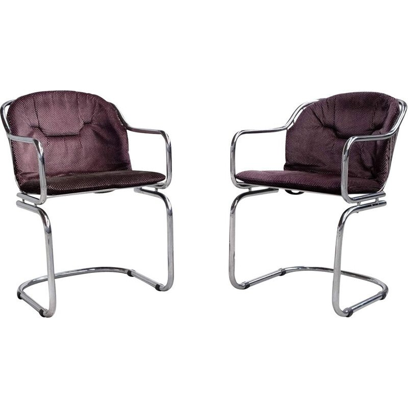 Pair of vintage chairs in chrome by Gastone Rinaldi for Rima, 1960s