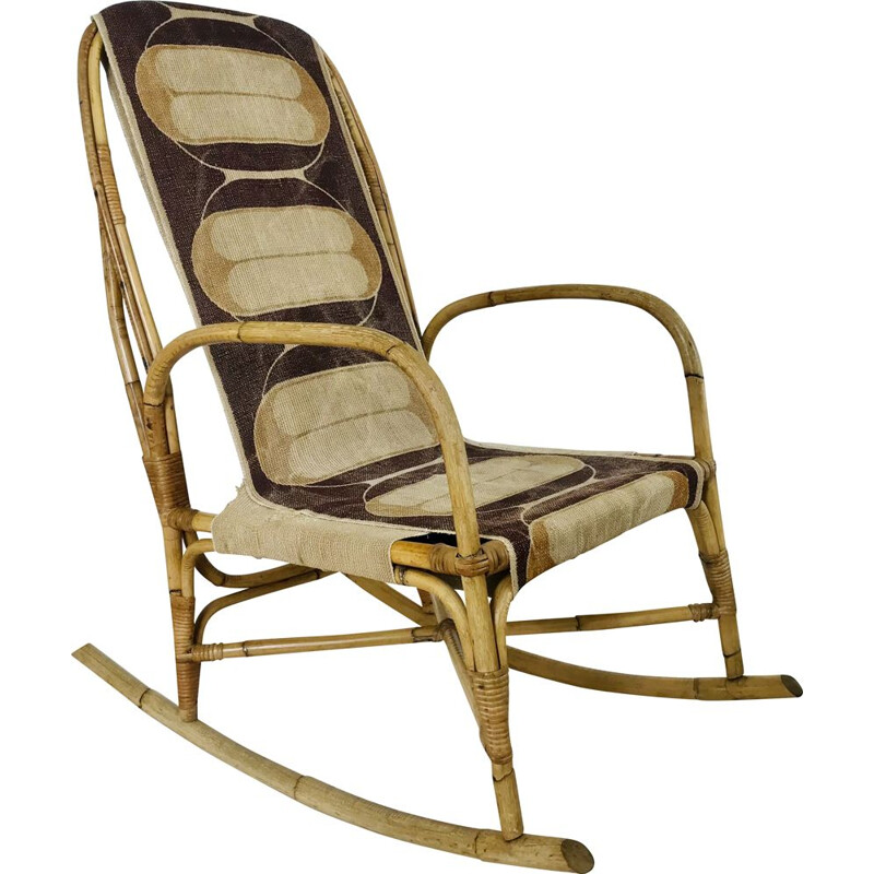 Vintage rattan and fabric rocking chair, France 1960s