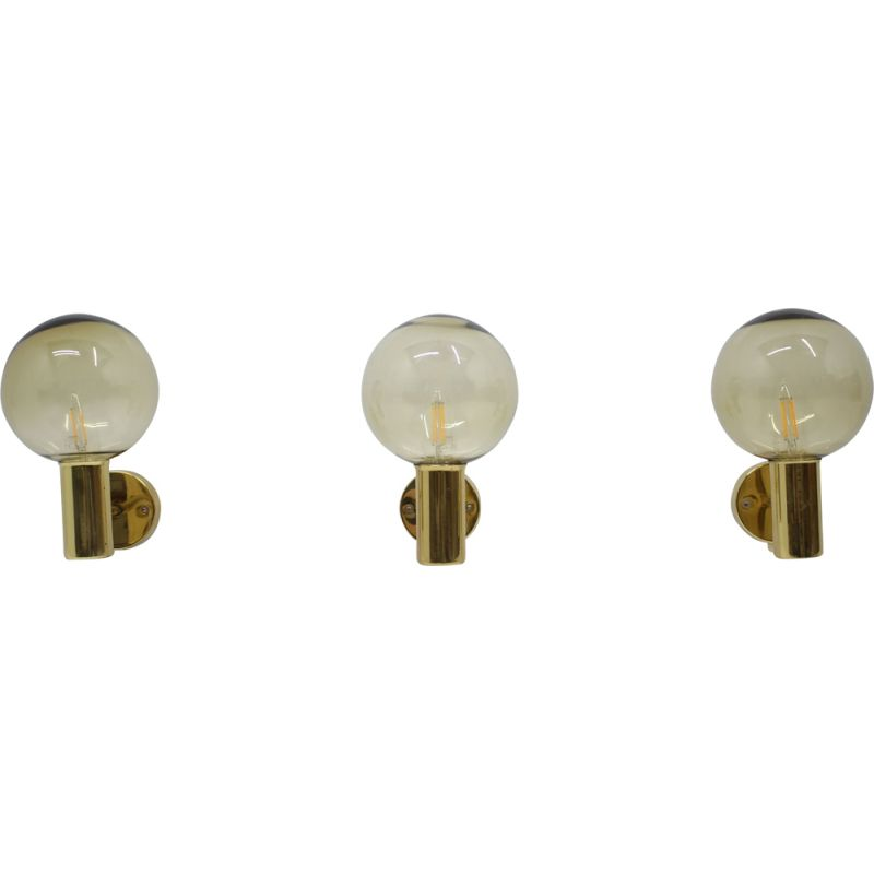 Set of 3 vintage brass and glass sconces by Hans-Agne Jakobsson, 1960s